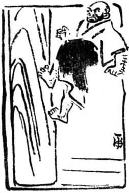 Тода Синрюкэн, взбегающий по стволу дерева (рисунок Такамацу Тосицугу)